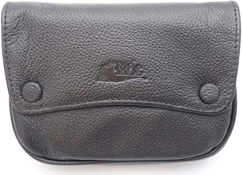 Pipe Tobacco Leather Pouch - Authentic Full Grade Leather - Black