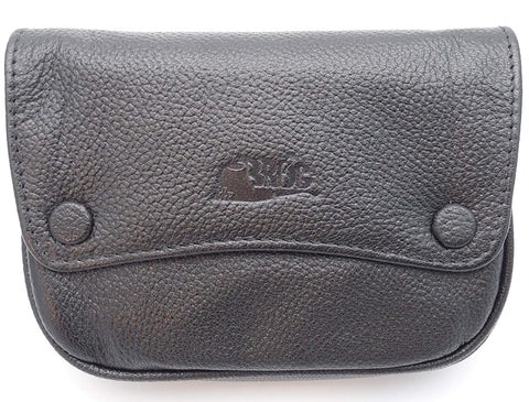 Pipe Tobacco Leather Pouch - Authentic Full Grade Cow Leather - Black