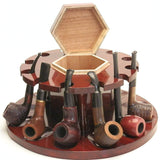 Tobacco Pipe Rack - 12 Pipes - With Middle Storage for Pipe Tobacco