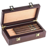 Leather Cigar Humidor Case Cedar Wood Box - Oil Pull-up + Canvas Leather - [Dark Brown+Light Brown]