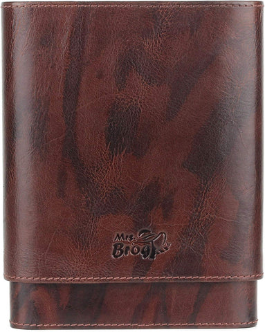 Leather Cigar Humidor Case with Stitching - 5 Cigar Grooves in Cedar Wood - Atmosphere Leather - [Wood]