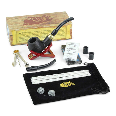 Mr. Brog Handmade Tobacco Pipe Model #24 With Pipe Accessories kit (Includes: Pipe Sack, Stand, 3-in-1 Scraper tool, Filters, Pipe Cleaners, Rubber Bits, Metal Balls, and additional mouthpiece)