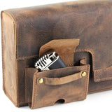Handmade Authentic Hunter Oil Pull Up Leather Cigar Humidor Travel Case - with Special Cigar Push Up Feature