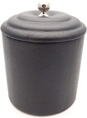 Soft Leather Pipe Tobacco Jar - Authentic Full Grade Cow Leather - Black