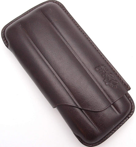 Leather Cigar Case for 3 - Authentic Full Grade Buffalo Hide Leather