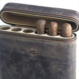Handmade Authentic Hunter Oil Pull Up Leather Cigar Humidor Case - with Special Humidity Rise Tunnel Feature