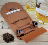 Mr. Brog Elegant Full Grain Leather Tobacco Pipe Pouch Wrap - Tan