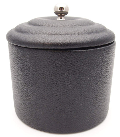Black Leather Tobacco Jar - Authentic Full Grade Cow Leather - Black