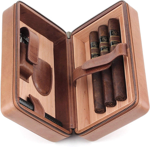 Leather Cigar Humidor Case Cedar Wood Box - Atmosphere Leather - [Brown]