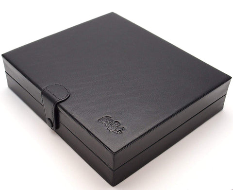 Mrs. Brog Travel Cigar Humidor Box Great Carry Along - Authentic Full Grade Buffalo Hide Leather - Black