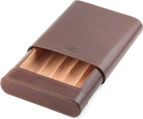 Leather Cigar Humidor Box - Slim Desktop Cedar Wood Cabinet - Atmosphere Leather - [Brown]