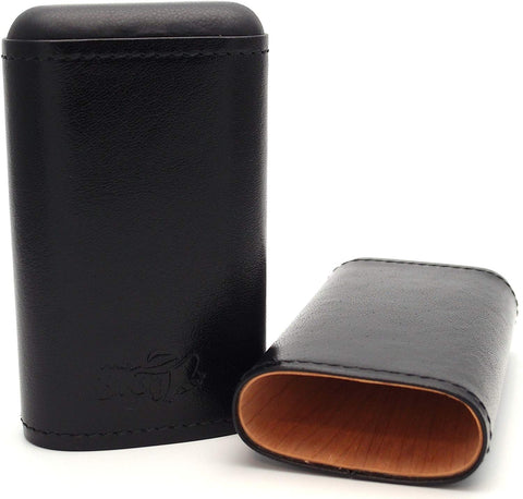 Cigar Carrying Cases - (Robusto) - Authentic Full Grade Buffalo Hide Leather - Black
