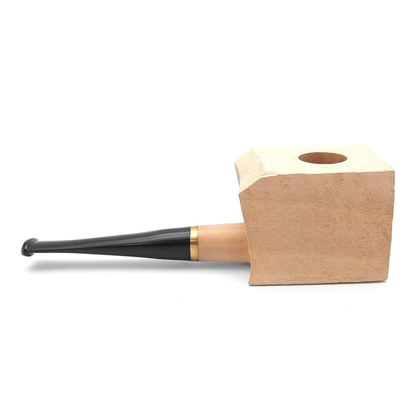 Straight Tobacco Pipe Pear Wood Block - Pre-Drilled