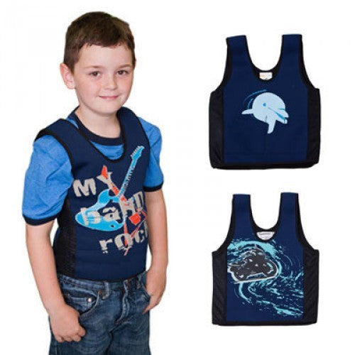 "Child is wearing ""My Band Rocks"" style, Upper Right Vest is ""Dolphin"" Style. Lower Left vest is ""Motorcycle"" style."