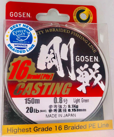 C16150L08 - GOSEN 16 Ply Braid PE 0.8 20lb