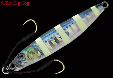 ADDM1208 - Little Jack Metal Addict Type 1 jig 12g #08 Real Maiwashi Zebra Glow