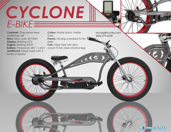 Micargi Cyclone Electric Fat Tire Beach Cruiser Bike Catalog