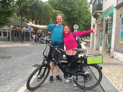 The founders of Electricbikecity.com before riding A2b e-bikes in the little town of Sintra, Portugal