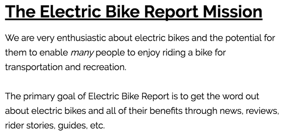 Electric Bike Report Mission