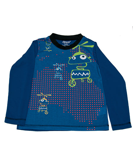 Navy Robot  - long sleeve boys T shirt - deezo the happy fashion