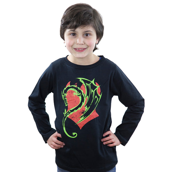 Dragon on black  - Long sleeve T shirt - deezo the happy fashion