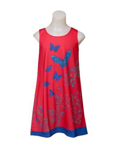 Butterfly - Girls red boho dress - deezo the happy fashion