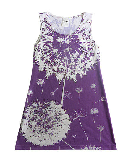 Dandelion on purple - girls lilac flower dress - deezo the happy fashion