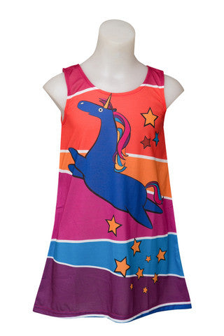 Unicorn Magic - toddler rainbow uicorn dress - deezo the happy fashion