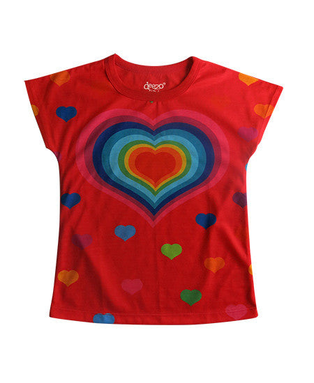 hearts - Girl printed red T shirt - Tops, Shirts & T-Shirts deezo the happy fashion