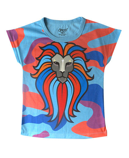 lionesse - Girl printed T shirt - deezo the happy fashion