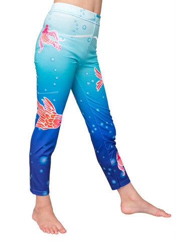 underwater - printed girls leggings - deezo the happy fashion