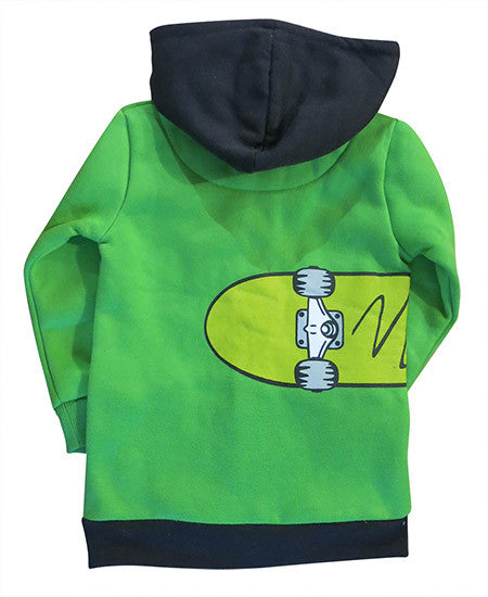 Skateboard on green boys hoodie