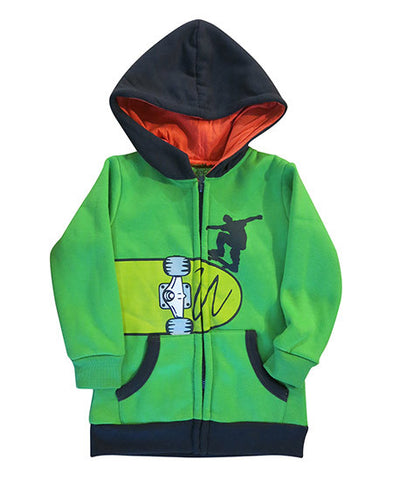 Skateboard on green boys hoodie - deezo the happy fashion