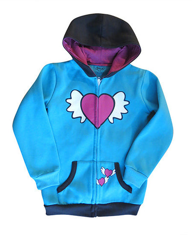 Flying heart - kids hoodie - deezo the happy fashion