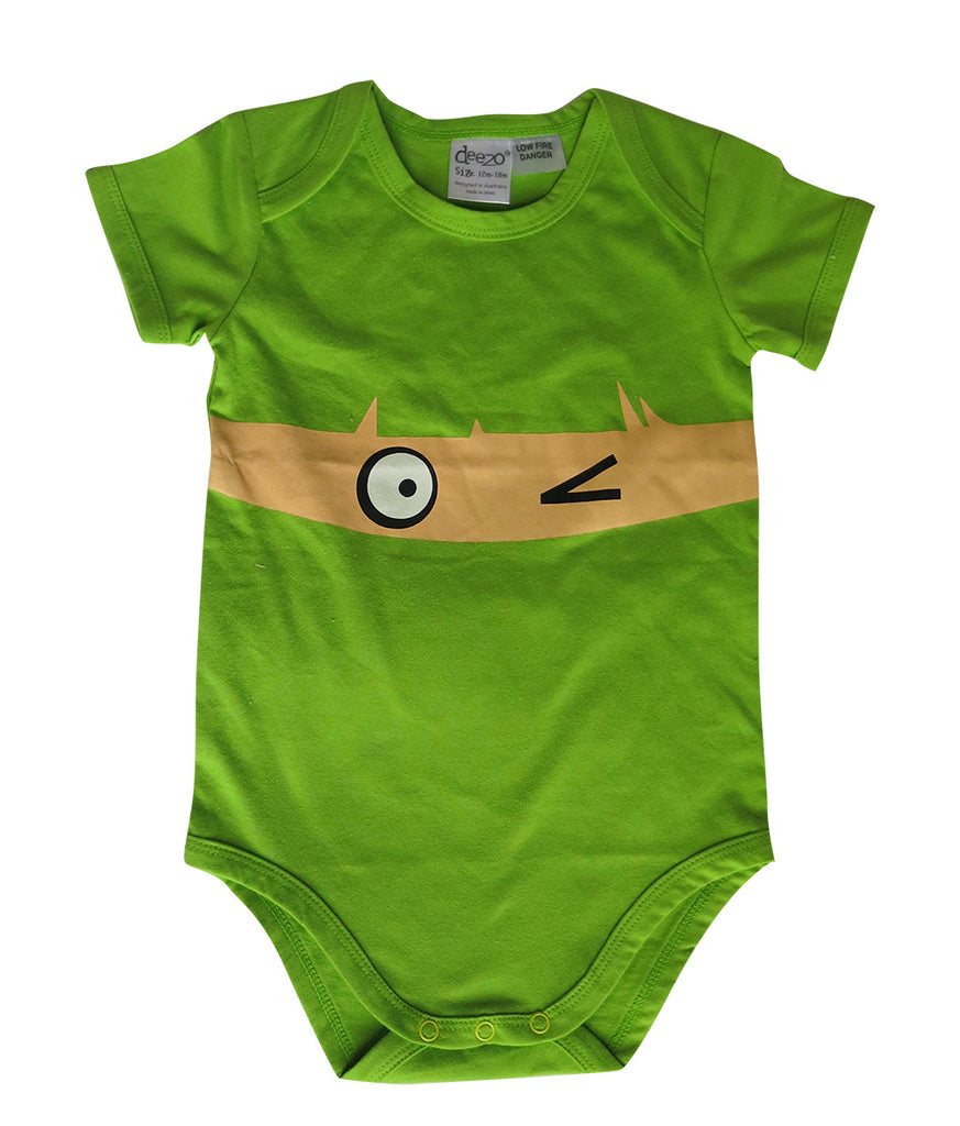 Wink on lime baby suit