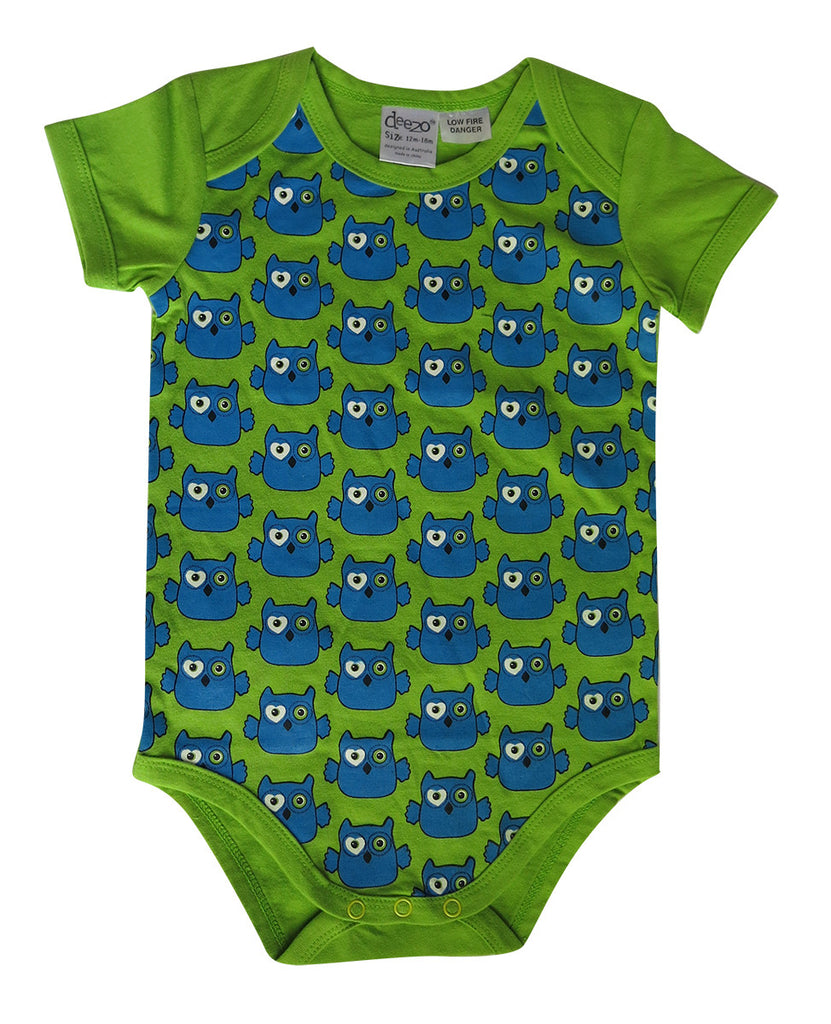 Owl on lime - baby suit - Baby wear deezo the happy fashion
