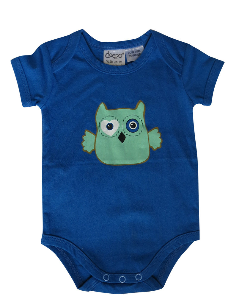 Owl on Aqua - Baby Suit - deezo the happy fashion