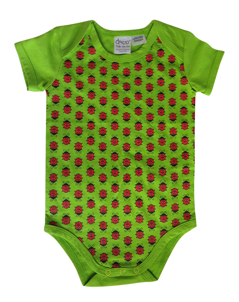 Lady bug on Lime - Baby Suit - deezo the happy fashion