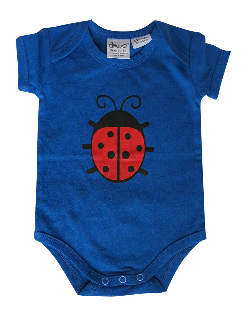 Lady bug on Aqua - Baby Suit - deezo the happy fashion