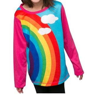 Over the rainbow  - long sleeve girls rainbow T shirt - deezo the happy fashion