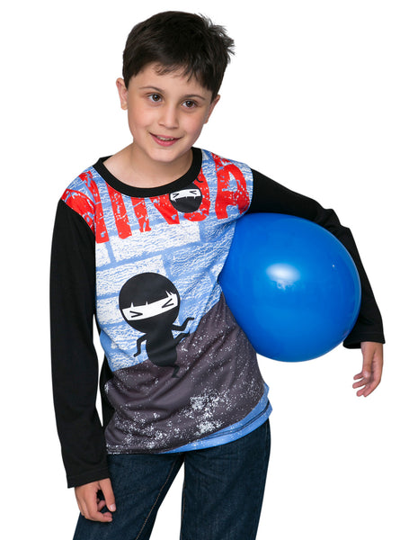 Tip Toe Ninja  - Boys Kawaii long sleeve T shirt - deezo the happy fashion
