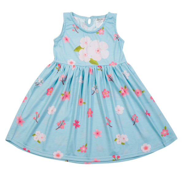 Light Blue Flower Dress - deezo the happy fashion