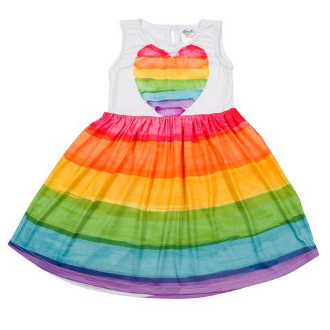 Rainbow heart - Classic Boho Dress - deezo the happy fashion