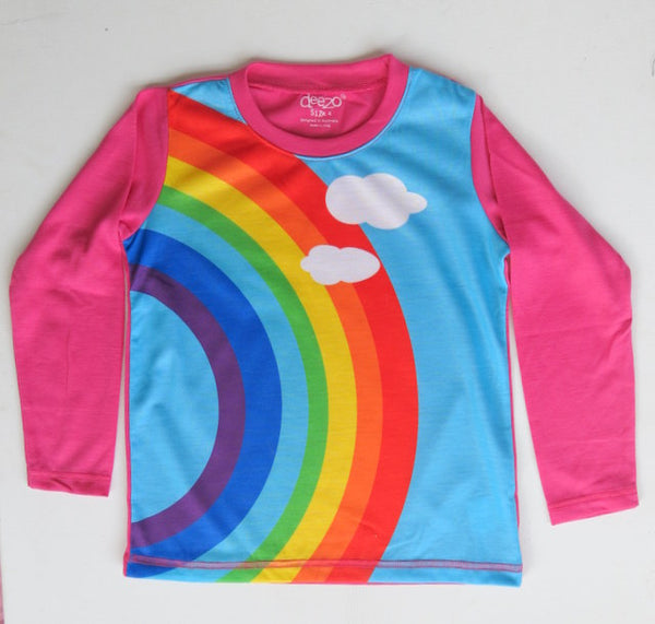 Over the rainbow  - long sleeve girls rainbow T shirt
