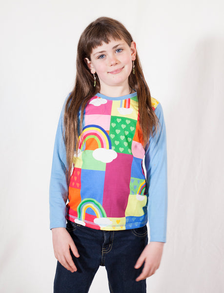 Rainbow Patches  - Winter boho long sleeve Girls T shirt