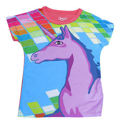 Rainbows and unicorns girl t shirt - deezo the happy fashion