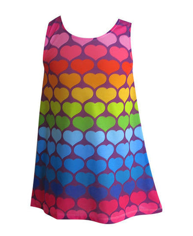 Rainbow love hearts - Girls boho dress - deezo the happy fashion