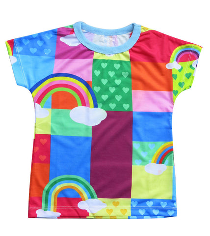 Rainbow patches - Girl rinbow T shirt - deezo the happy fashion