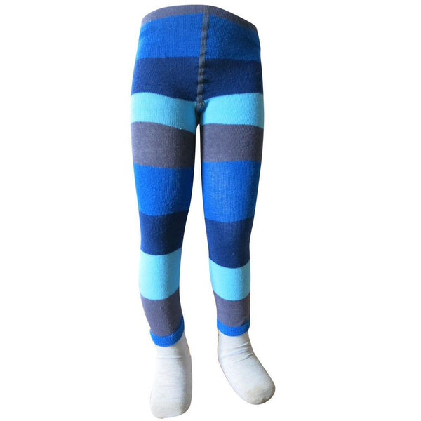 Blue & Gray Stripe Leggings - Infant - Socks & Tights deezo the happy fashion