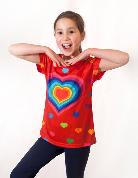 hearts - Girl printed red T shirt - deezo the happy fashion